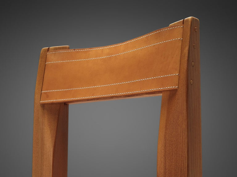 Set of Pierre Chapo 'S11' Chairs in Cognac Leather For Sale 2