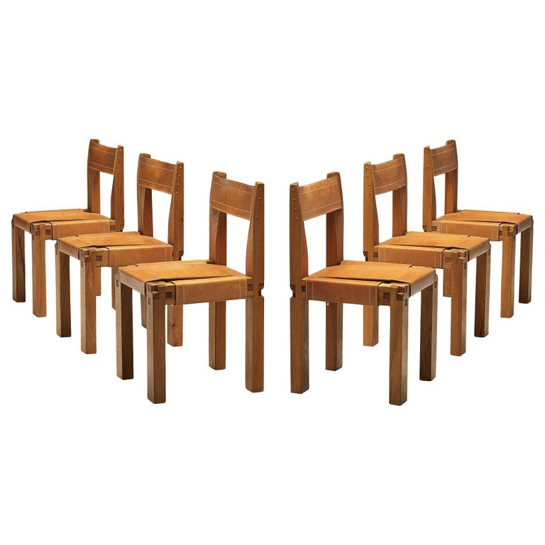 Set of Pierre Chapo 'S11' Chairs in Cognac Leather For Sale