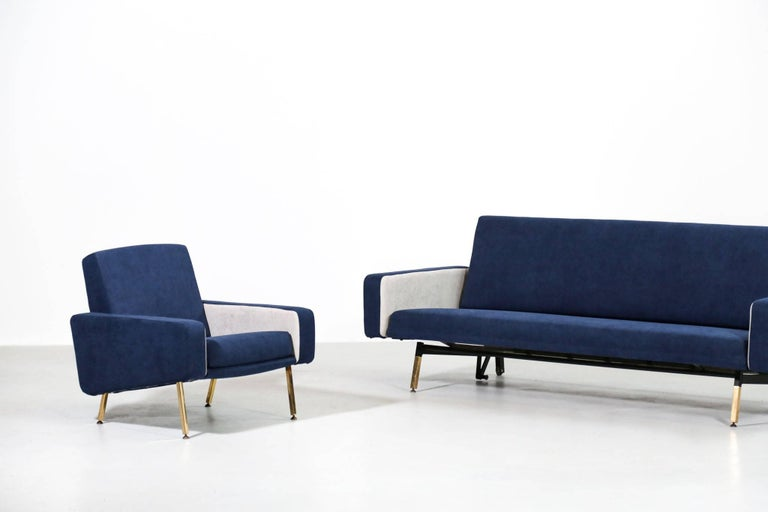 Set of Pierre Guariche Sofa Bed and Pair of Armchairs for Airborne French Design For Sale 6