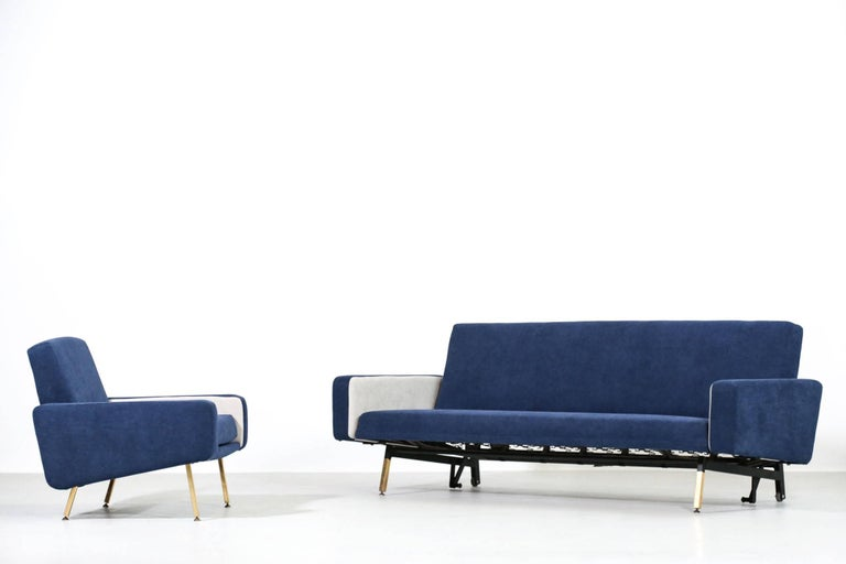 Set of Pierre Guariche Sofa Bed and Pair of Armchairs for Airborne French Design For Sale 7