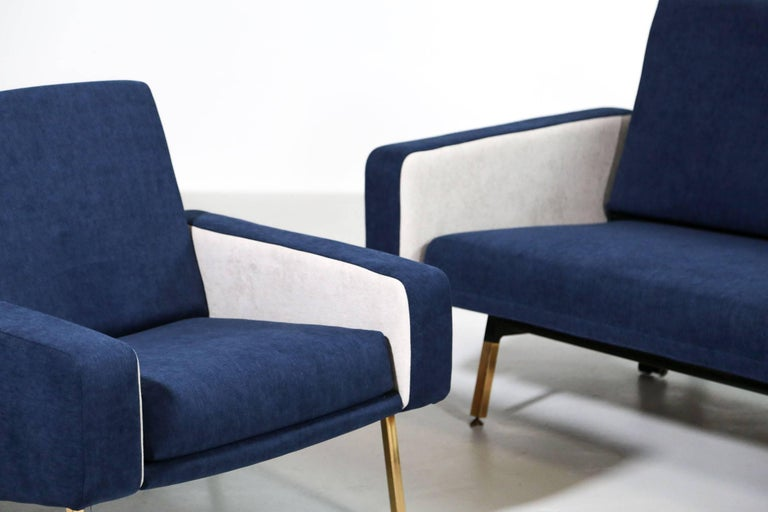 Mid-Century Modern Set of Pierre Guariche Sofa Bed and Pair of Armchairs for Airborne French Design For Sale