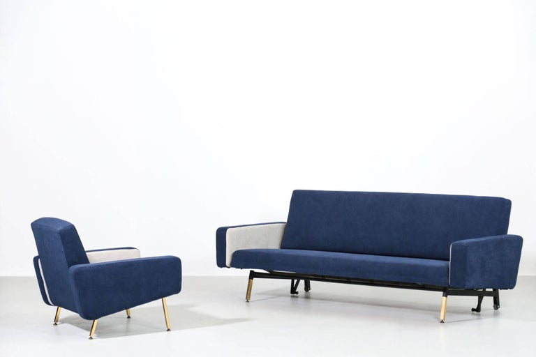 20th Century Set of Pierre Guariche Sofa Bed and Pair of Armchairs for Airborne French Design For Sale