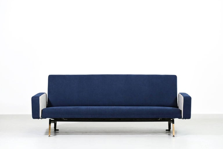Metal Set of Pierre Guariche Sofa Bed and Pair of Armchairs for Airborne French Design For Sale