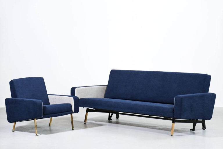 Set of Pierre Guariche Sofa Bed and Pair of Armchairs for Airborne French Design For Sale 3