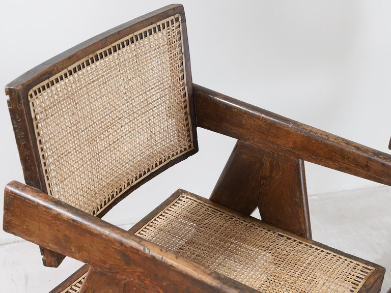 Set of Pierre Jeanneret Office Chair Chandigarh, India Model PJ-SI-28-A, 1950s For Sale 3