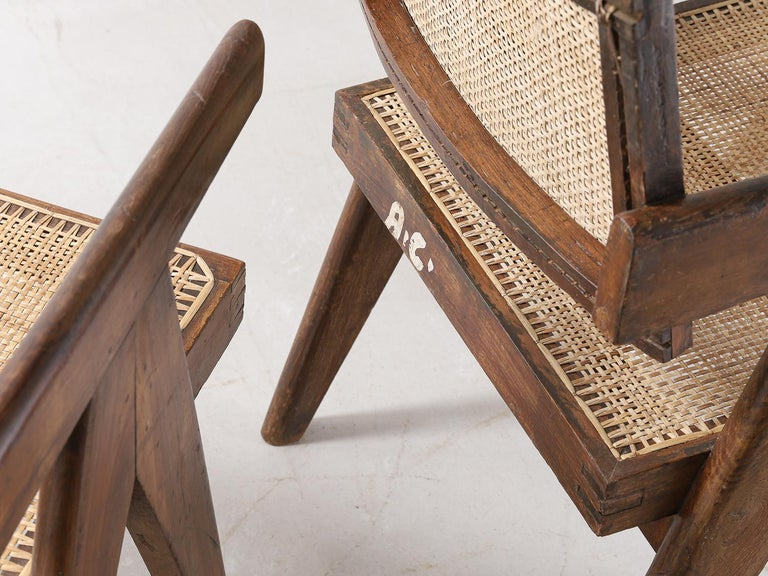 Set of Pierre Jeanneret Office Chair Chandigarh, India Model PJ-SI-28-A, 1950s For Sale 7
