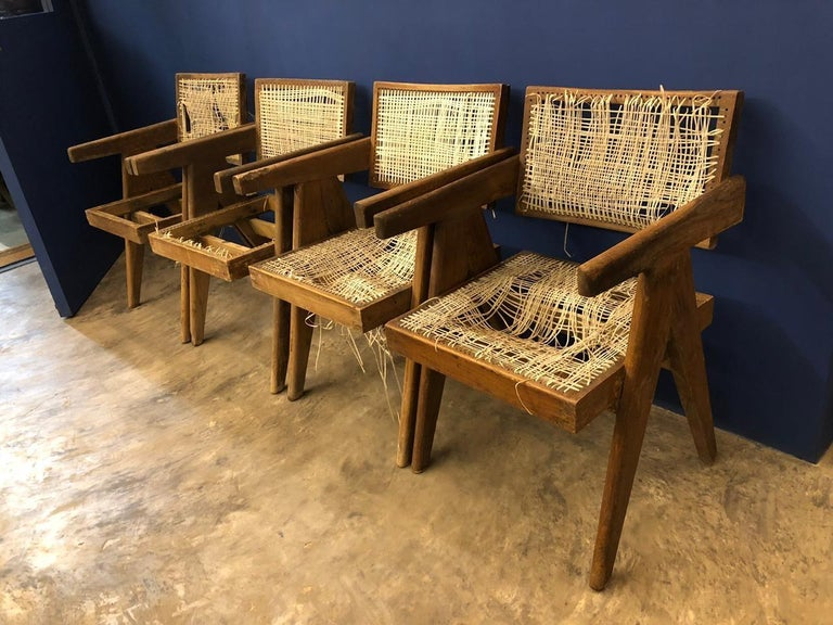 Set of Pierre Jeanneret Office Chair Chandigarh, India Model PJ-SI-28-A, 1950s For Sale 8