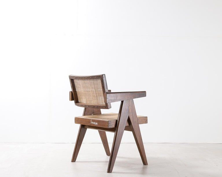 Mid-Century Modern Set of Pierre Jeanneret Office Chair Chandigarh, India Model PJ-SI-28-A, 1950s For Sale