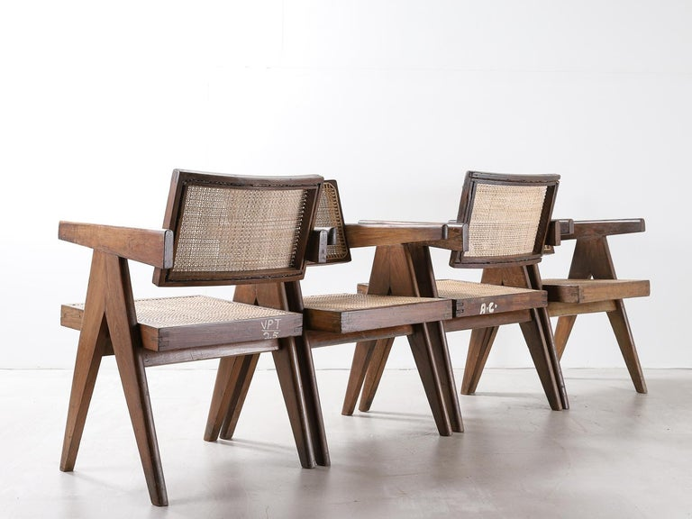 Indian Set of Pierre Jeanneret Office Chair Chandigarh, India Model PJ-SI-28-A, 1950s For Sale