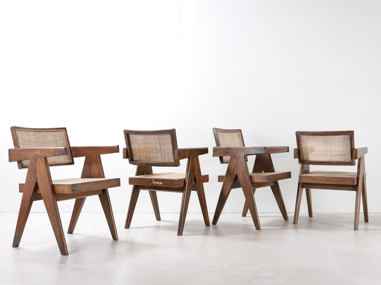 Mid-20th Century Set of Pierre Jeanneret Office Chair Chandigarh, India Model PJ-SI-28-A, 1950s For Sale