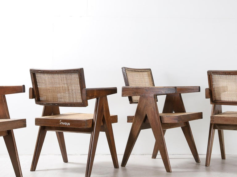 Cane Set of Pierre Jeanneret Office Chair Chandigarh, India Model PJ-SI-28-A, 1950s For Sale
