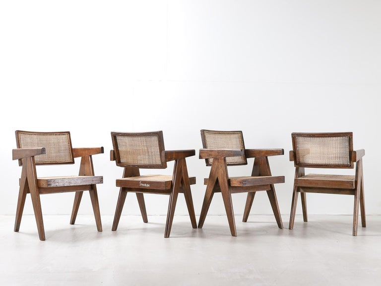 Set of Pierre Jeanneret Office Chair Chandigarh, India Model PJ-SI-28-A, 1950s For Sale 1