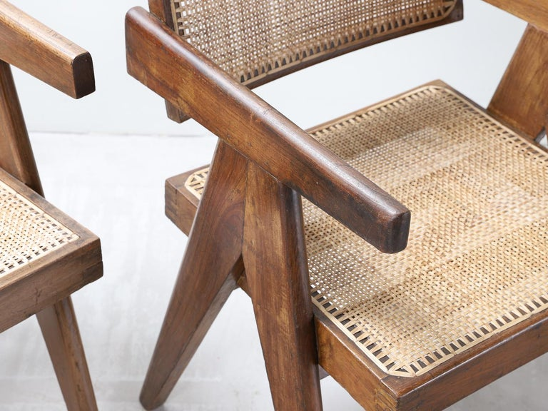 Set of Pierre Jeanneret Office Chair Chandigarh, India Model PJ-SI-28-A, 1950s For Sale 2