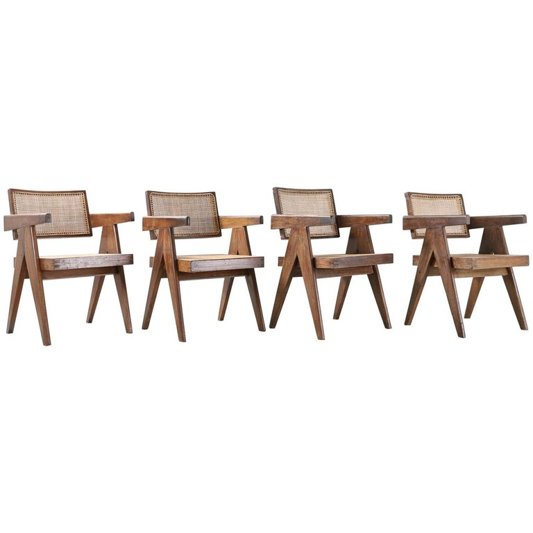 Set of Pierre Jeanneret Office Chair Chandigarh, India Model PJ-SI-28-A, 1950s For Sale