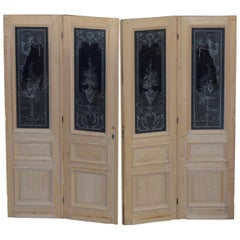Set of Pine Etched Glass Doors, circa 1900