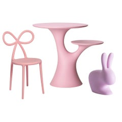 Set of Pink Rabbit Chair and Table with Pink Ribbon Chair, Made in Italy