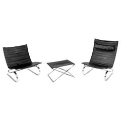Set of PK20 Chairs and PK91 Footstool by Poul Kjaerholm