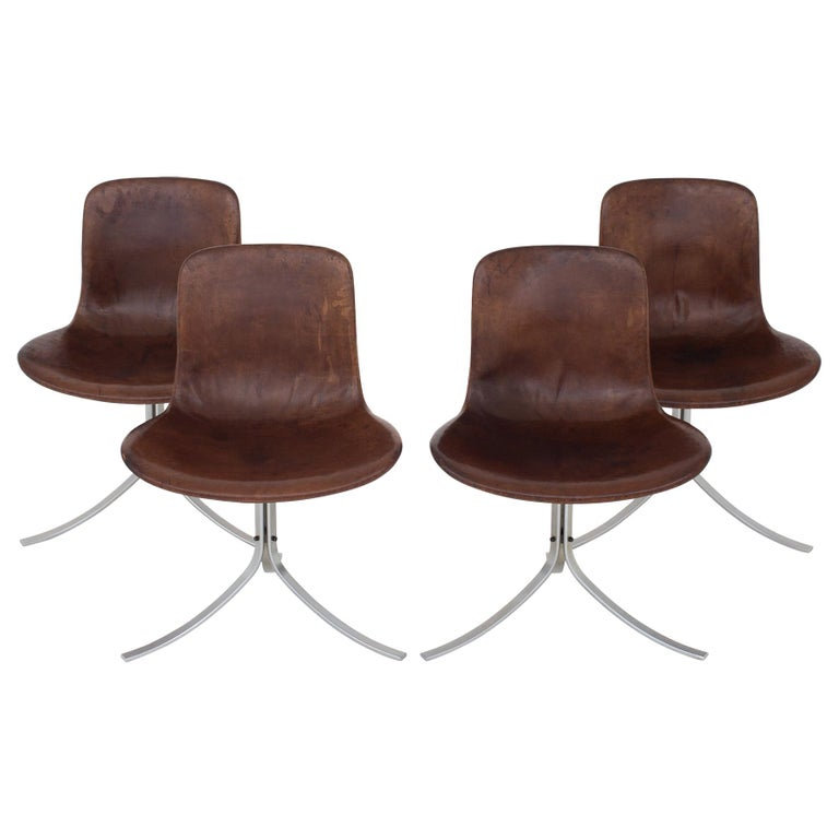 Set of PK9 Chairs by Poul Kjærholm For Sale
