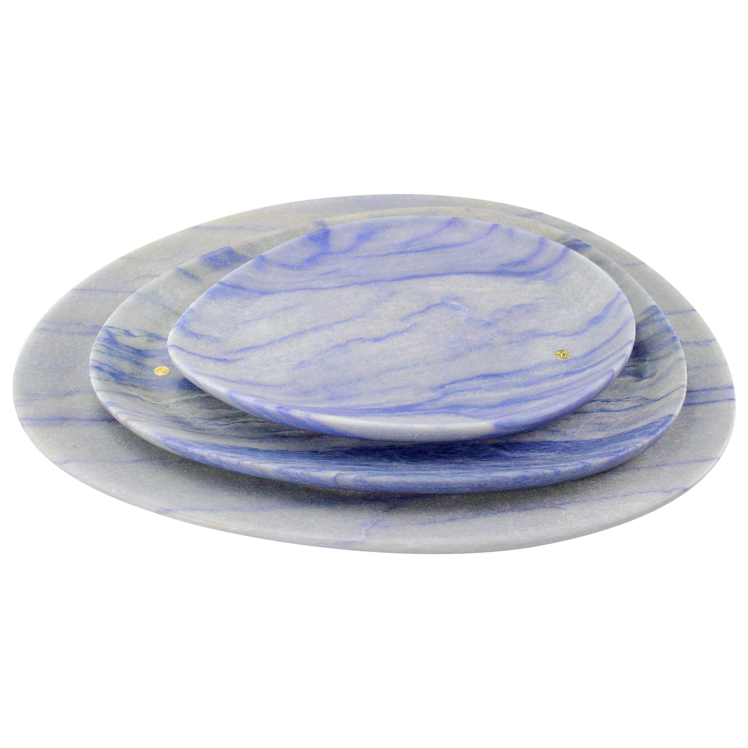 Set of Plates Hand Carved in Azul Macaubas Marble Design by Pieruga Marble