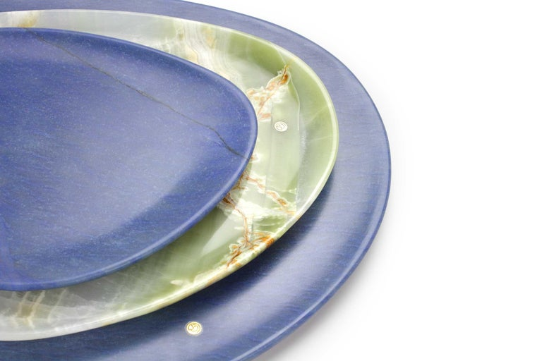 Modern Set of Plates Hand Carved in Blue Azul Macaubas and Green Onyx by Pieruga Italy For Sale
