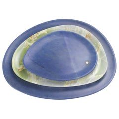 Set of Plates Hand Carved in Blue Azul Macaubas and Green Onyx by Pieruga Italy