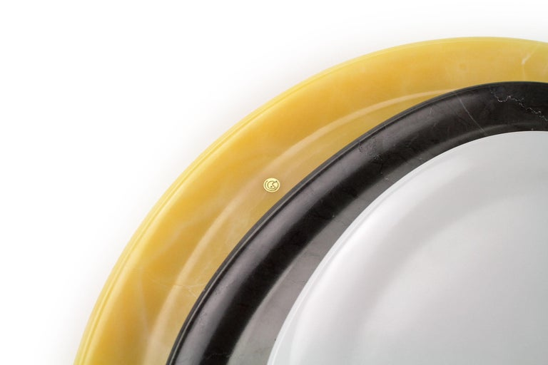 Modern Set of Plates Hand Carved in Different Onyx and Stones by Pieruga Marble For Sale