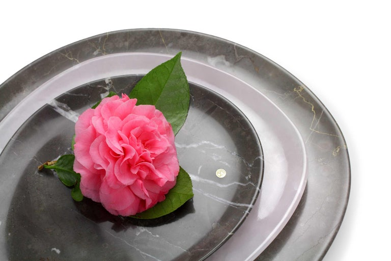 Modern Set of Plates Hand Carved in Grey Marble and Pink Onyx by Pieruga Marble Italy For Sale
