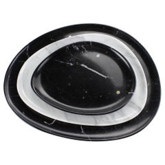 Set of Plates Hand Carved in Marquina and Statuary Marble, Made in Italy
