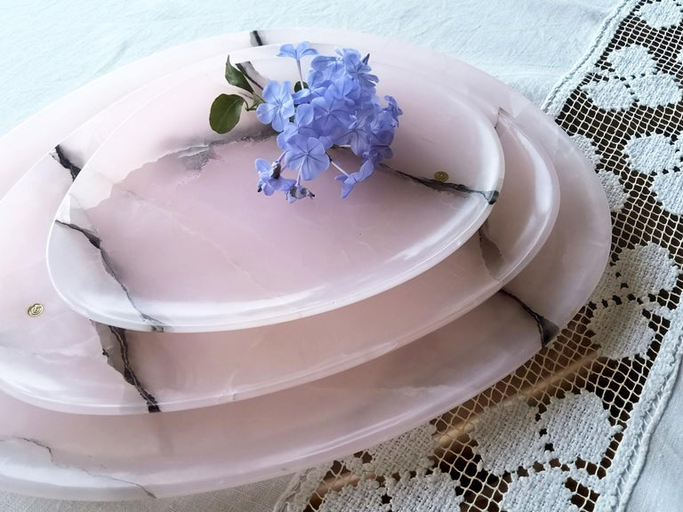Modern Set of Plates or Platters Handmade in Pink Onyx Design by Pieruga Marble Italy For Sale