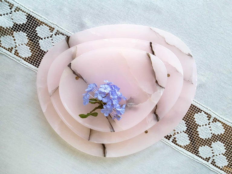 Italian Set of Plates or Platters Handmade in Pink Onyx Design by Pieruga Marble Italy For Sale
