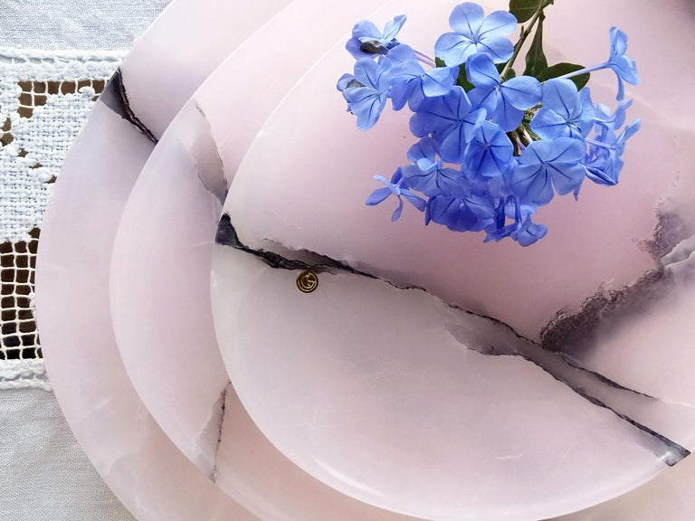 Hand-Carved Set of Plates or Platters Handmade in Pink Onyx Design by Pieruga Marble Italy For Sale