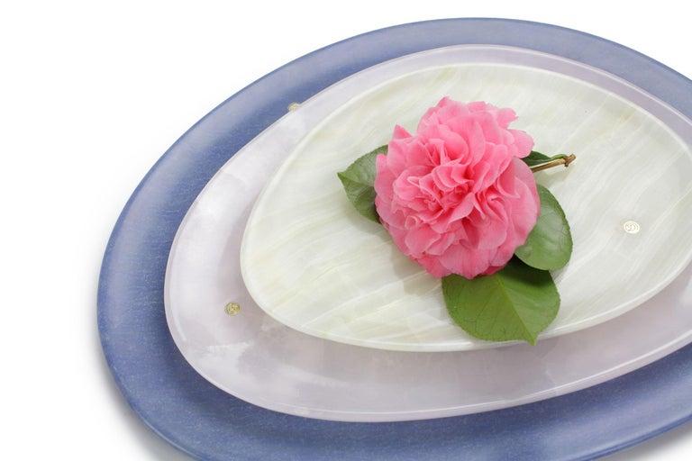 Modern Set of Plates Handmade Blue Azul Macaubas, White and Green Onyx, Pieruga, Italy For Sale