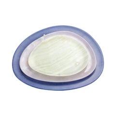 Set of Plates Handmade Blue Azul Macaubas, White and Green Onyx, Pieruga, Italy