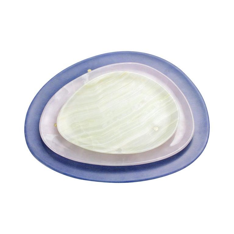 Set of Plates Handmade Blue Azul Macaubas, White and Green Onyx, Pieruga, Italy For Sale