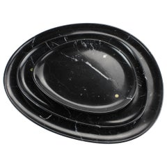 Set of Plates Handmade in Black Marquina Marble Design by Pieruga Marble Italy