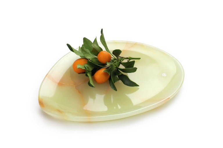 Italian Set of Plates Handmade in Green and Pink Onyx Design Pieruga Marble, Italy For Sale