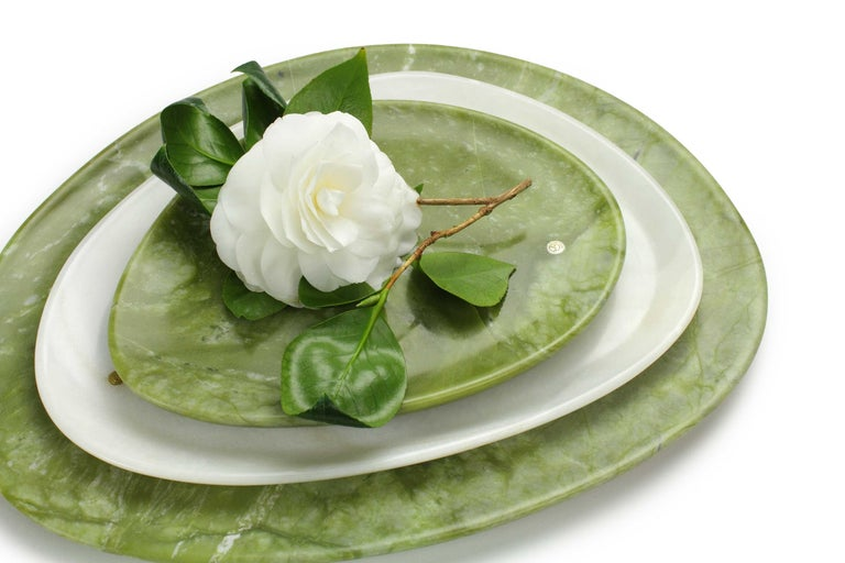 Modern Set of Plates Handmade in Green Ming Marble White Onyx by Pieruga Marble Italy For Sale