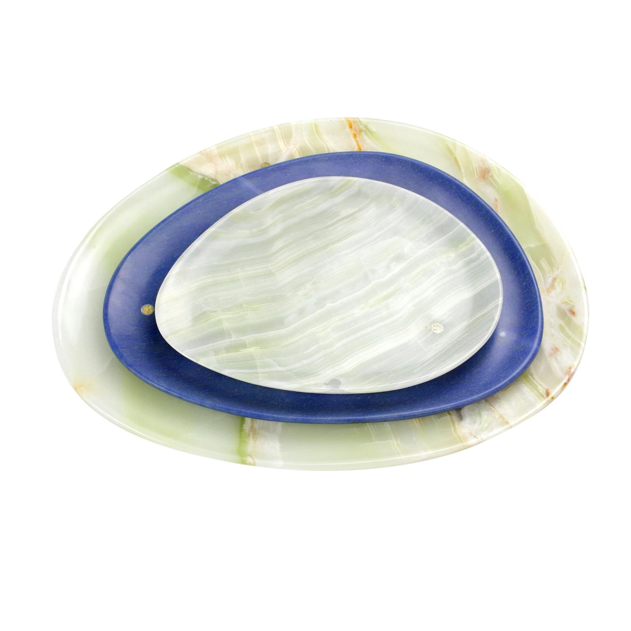 Set of Plates Handmade in Green Onyx and Blue Azul Macaubas Pieruga Marble Italy