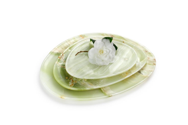 Modern Set of Plates Handmade in Green Onyx Contemporary Design by Pieruga Marble Italy For Sale