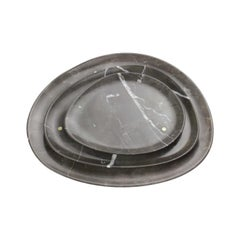 Set of Plates Handmade in Imperial Grey Marble Design by Pieruga Marble Italy