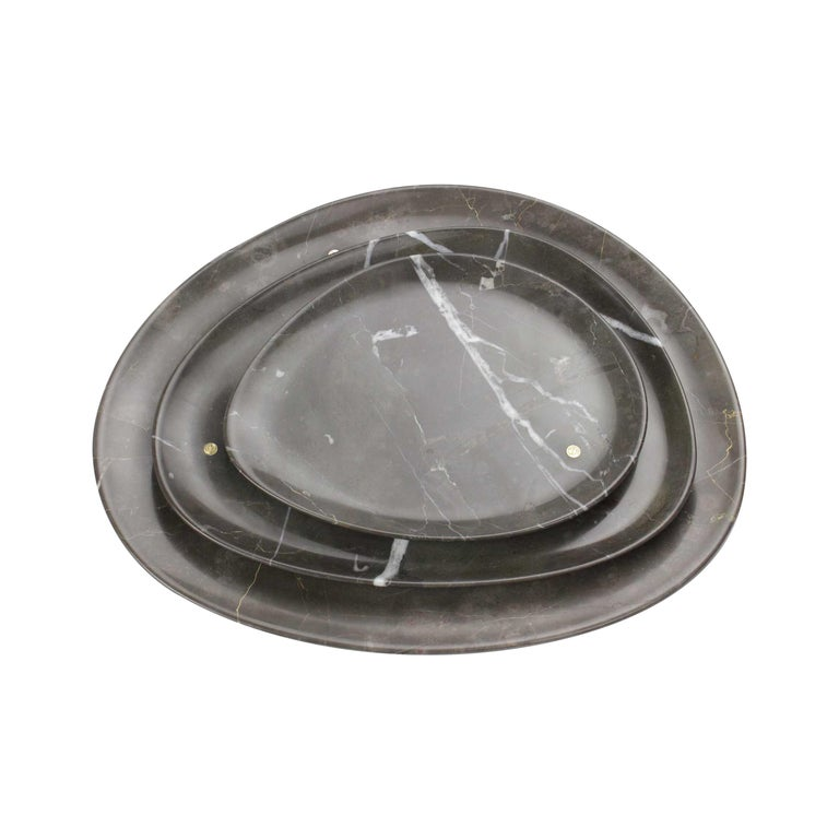 Set of Plates Handmade in Imperial Grey Marble Design by Pieruga Marble Italy For Sale