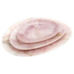 Set of Plates Handmade in Rose Quartz Contemporary Design Pieruga Marble Italy