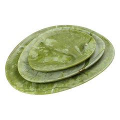 Set of Plates Handmade in Solid Green Ming Marble Design by Pieruga Marble Italy
