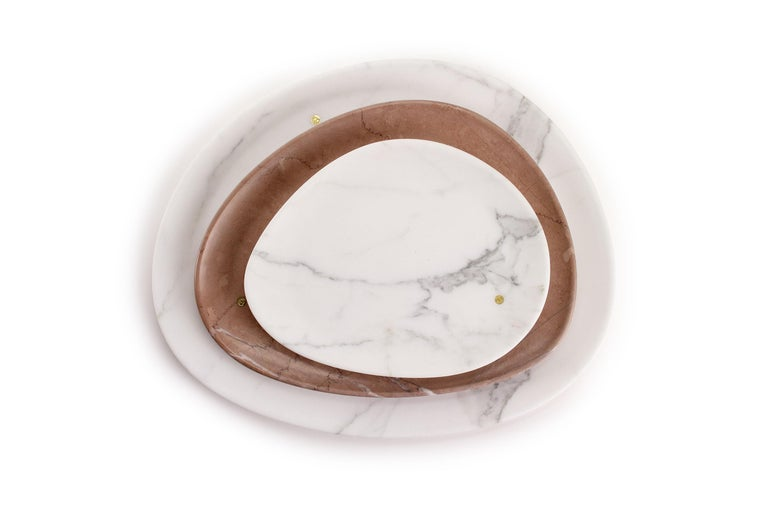 Modern Set of Plates Handmade in Statuary Marble Assisi Pink Stone Pieruga Marble Italy For Sale