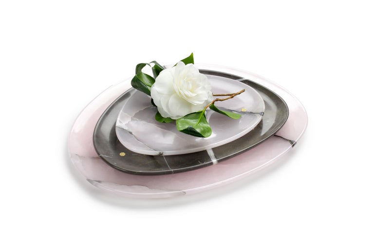 Italian Set of Plates Handmade Pink Onyx and Imperial Grey Marble Pieruga Marble Italy For Sale