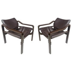 Set of Plywood Chairs with Dark Brown Leather Upholstery, 1970s