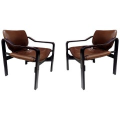 Set of Plywood Chairs with Light Brown Leather Upholstery, 1970s