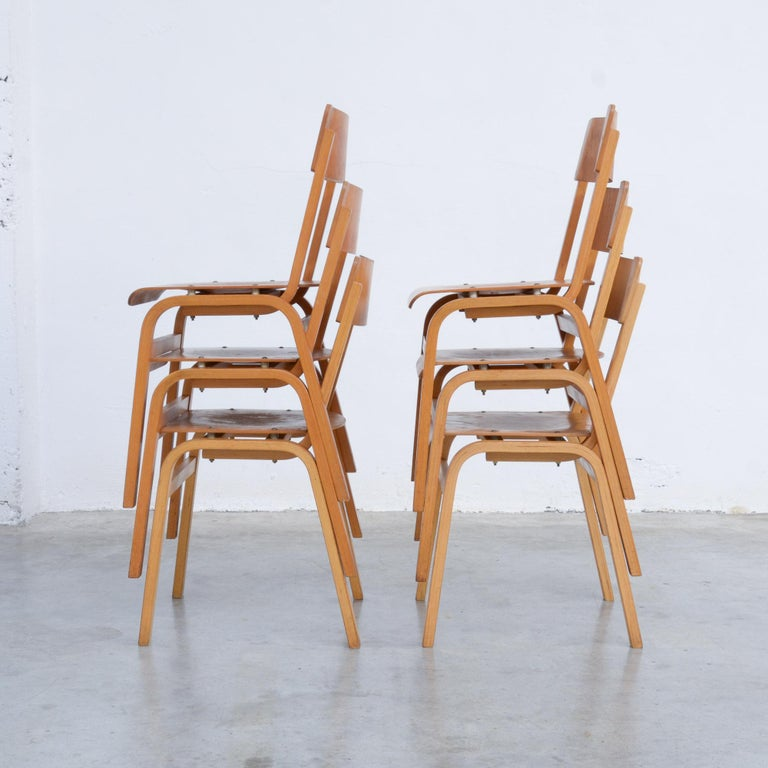Set of Plywood Dining Chairs of the 1960s For Sale 10