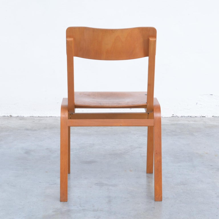 European Set of Plywood Dining Chairs of the 1960s For Sale