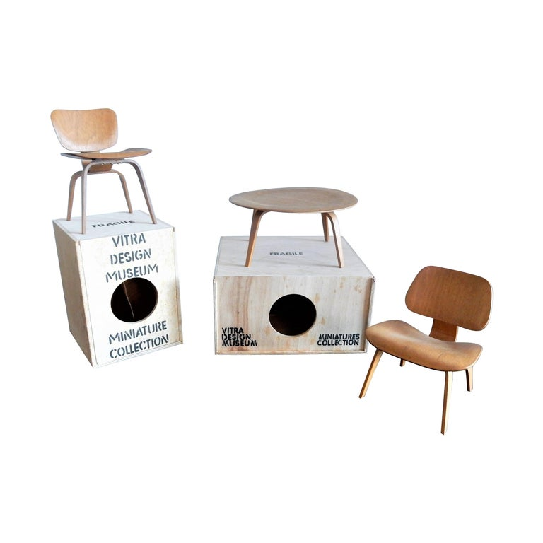 Set of Plywood miniatures by Charles & Ray Eames for Vitra, Switzerland For Sale